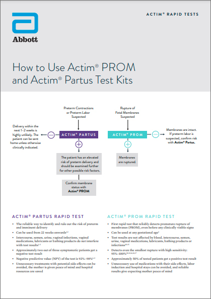 Using Actim PROM & Partus Tests together Brochure